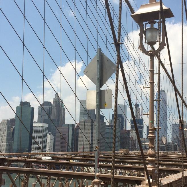 Brooklyn Bridge. New York skyline.